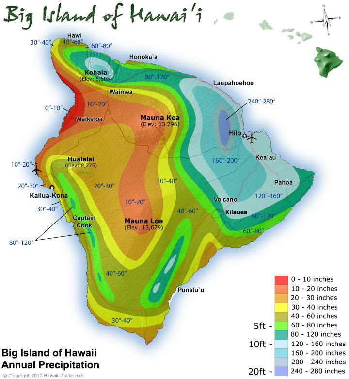 A rainfall map of the Big Island of Hawaii.